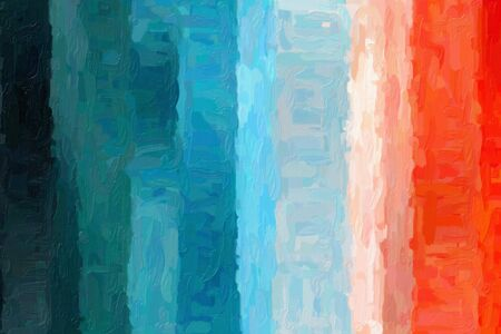 Blue and red lines and stripes Impressionist Impasto abstract paint background. Stock Photo