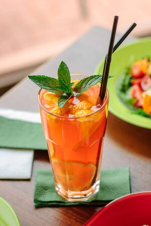 Fresh lemonade with citrus fruits and mint, great image for your needs. Stock Photo