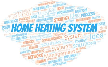 Home Heating System typography vector word cloud. Wordcloud collage made with the text only.