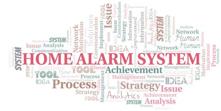 Home Alarm System typography vector word cloud. Word cloud collage made with the text only. Ilustrace