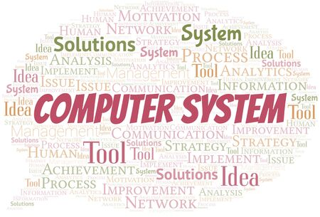 Computer System typography vector word cloud. Word cloud collage made with the text only. Ilustrace