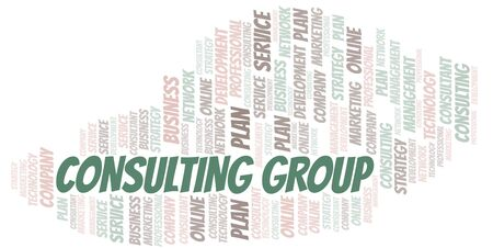 Consulting Group typography vector word cloud. Wordcloud collage made with the text only.