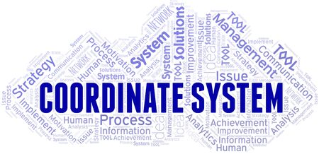 Coordinate System typography vector word cloud. Wordcloud collage made with the text only.