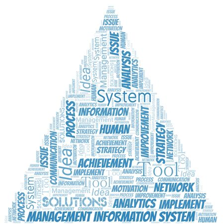 Management Information System typography vector word cloud. Wordcloud collage made with the text only.