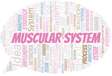 Muscular System typography vector word cloud. Wordcloud collage made with the text only.