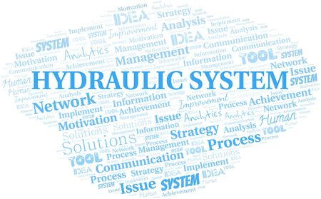Hydraulic System typography vector word cloud. Wordcloud collage made with the text only.