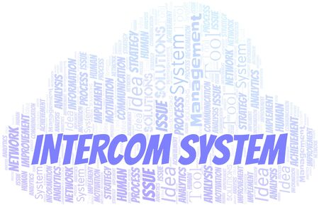 Intercom System typography vector word cloud. Word cloud collage made with the text only.