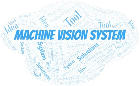 Machine Vision System typography vector word cloud. Word cloud collage made with the text only.