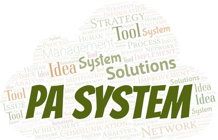 Pa System typography vector word cloud. Wordcloud collage made with the text only. Ilustrace