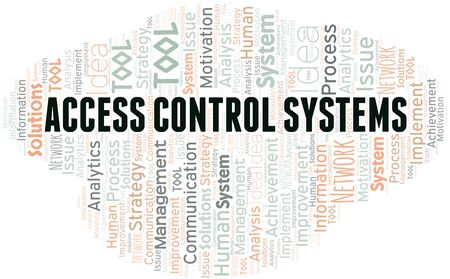 Access Control Systems typography vector word cloud. Wordcloud collage made with the text only.