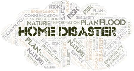 Home Disaster typography word cloud. Wordcloud collage made with the text only.