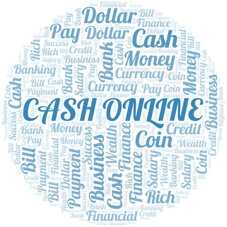 Cash Online typography vector word cloud. Word cloud collage made with the text only.