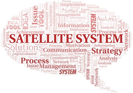 Satellite System typography vector word cloud. Wordcloud collage made with the text only.