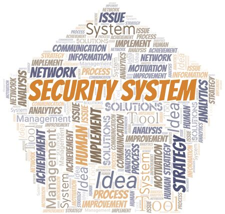 Security System typography vector word cloud. Wordcloud collage made with the text only. Ilustrace