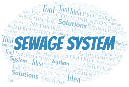 Sewage System typography vector word cloud. Word cloud collage made with the text only.