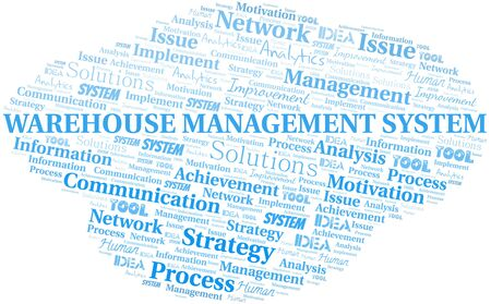 Warehouse Management System typography vector word cloud. Word cloud collage made with the text only.