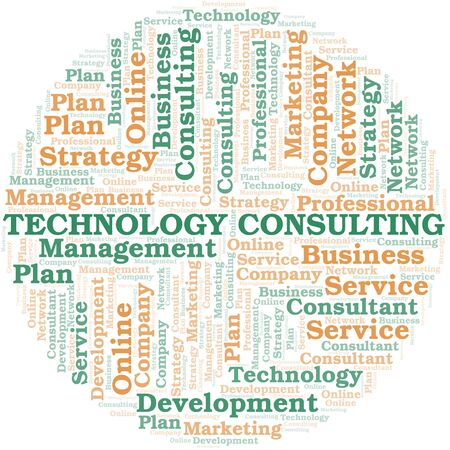 Technology Consulting typography vector word cloud. Wordcloud collage made with the text only.