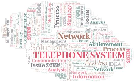 Telephone System typography vector word cloud. Wordcloud collage made with the text only.