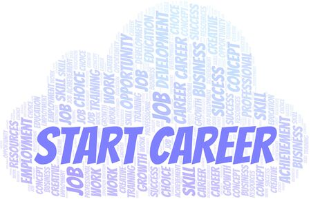 Start Career typography vector word cloud. Wordcloud collage made with the text only.