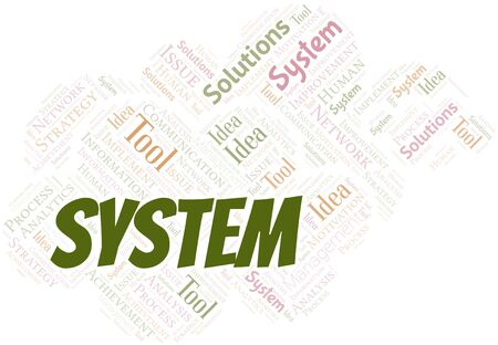 System typography vector word cloud. Word cloud collage made with the text only.
