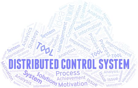 Distributed Control System typography vector word cloud. Wordcloud collage made with the text only.