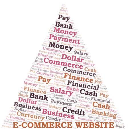 E-Commerce Website typography vector word cloud. Wordcloud collage made with the text only.