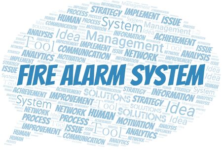 Fire Alarm System typography vector word cloud. Word cloud collage made with the text only. Ilustrace