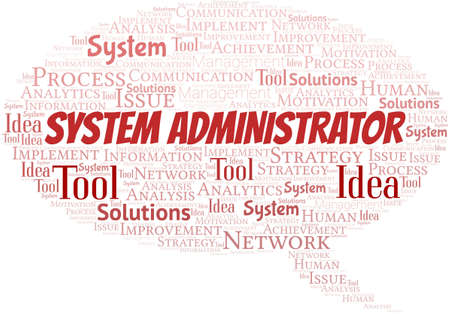 System Administrator typography vector word cloud.