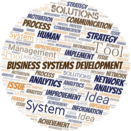 Business Systems Development typography vector word cloud.