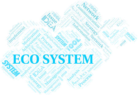 Eco System typography vector word cloud.