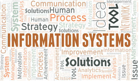Information Systems typography vector word cloud.