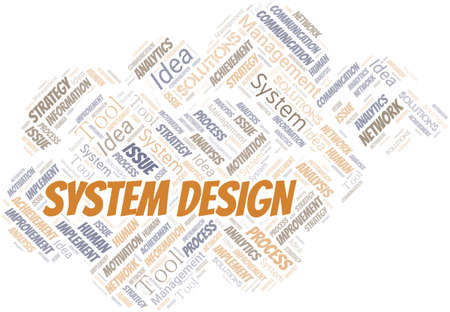 System Design typography vector word cloud.