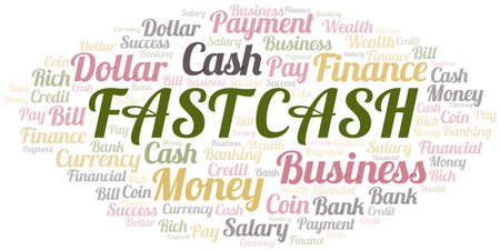 Fast Cash typography vector word cloud.