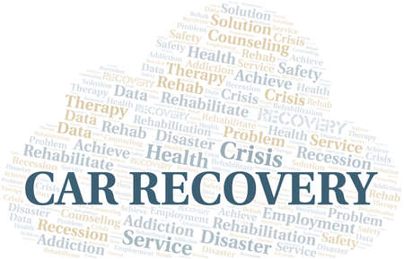 Car Recovery vector word cloud, made with text only. 矢量图像