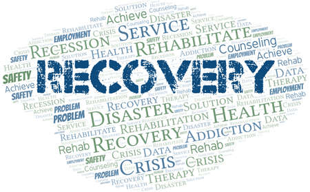Recovery vector word cloud, made with text only.