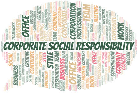 Corporate Social Responsibility vector word cloud, made with text only.