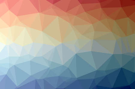 Illustration of abstract Blue, Red And Yellow horizontal low poly background. Beautiful polygon design pattern.