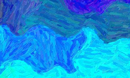 Blue large color variation impasto background, digitally created.