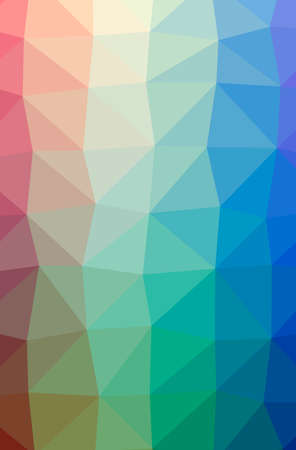 Illustration of abstract Blue, Green, Yellow And Red vertical low poly background. Beautiful polygon design pattern.