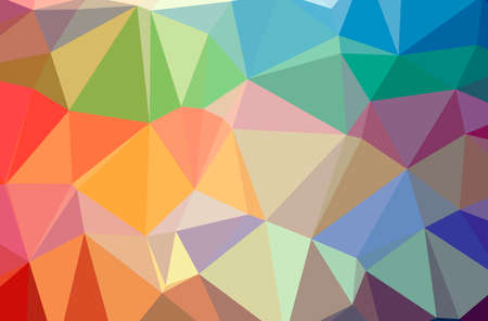 Illustration of abstract Blue, Green, Orange, Pink, Red horizontal low poly background. Beautiful polygon design pattern.