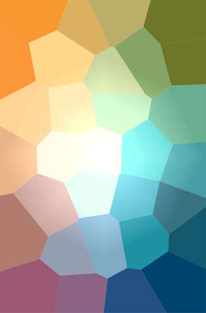 Abstract illustration of blue, green, orange Giant Hexagon background 免版税图像