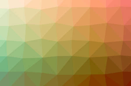 Illustration of abstract Green, Orange horizontal low poly background. Beautiful polygon design pattern.