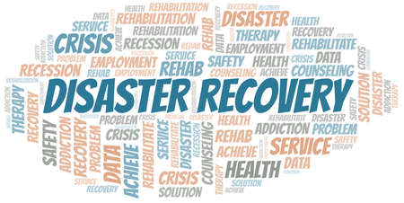 Disaster Recovery vector word cloud, made with text only. 向量圖像