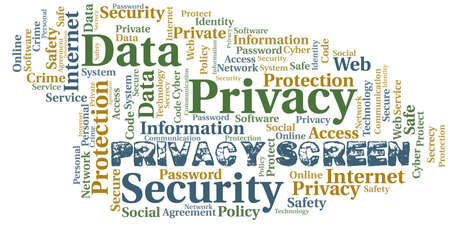 Privacy Screen vector word cloud, made with text only. 向量圖像
