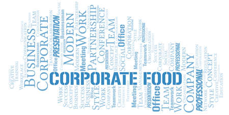 Corporate Food vector word cloud, made with text only.