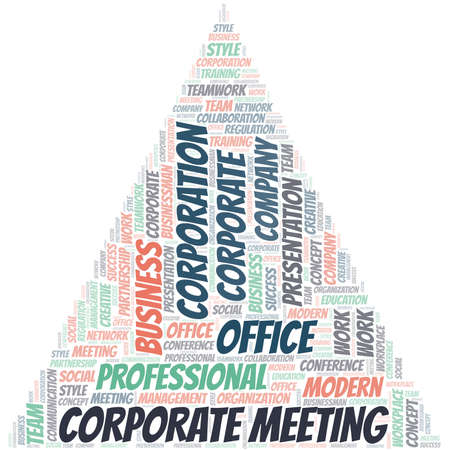 Corporate Meeting vector word cloud, made with text only.