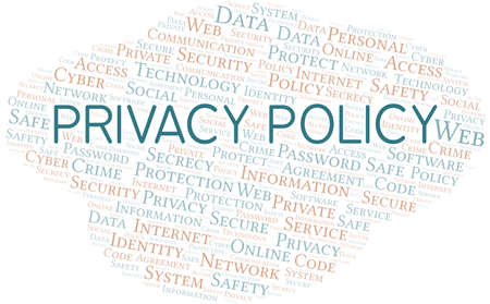 Privacy Policy vector word cloud, made with text only.