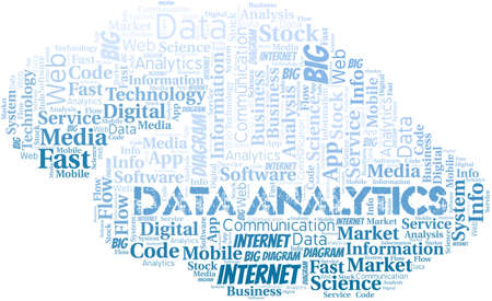 Data Analytics vector word cloud, made with text only. 矢量图像