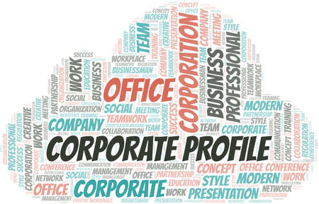 Corporate Profile vector word cloud, made with text only. 矢量图像