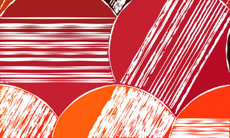 Red and orange circle with white lines background, digitally created.